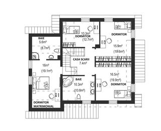 Plan etaj casa cu 6 dormitoare