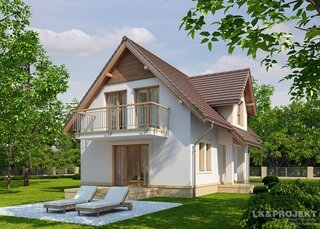 Casa cu mansarda cu acoperis maro