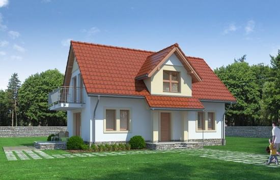 Casa cu mansarda, un proiect decent cu amprenta de 90 metri + 2 variante de finisaje pentru fatada