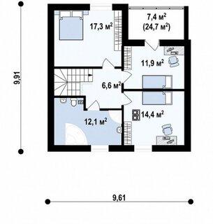 Plan etaj casa su 63 mp plus balcon