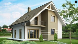 Proiect casa cu mansarda si balcon la dormitor