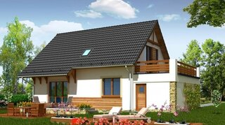 Casa frumoasa cu terasa la etaj