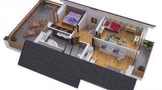 Plan etaj cu 3 dormitoare si terasa