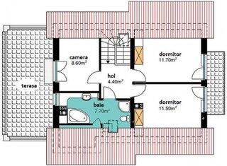 Plan etaj cu terasa mare