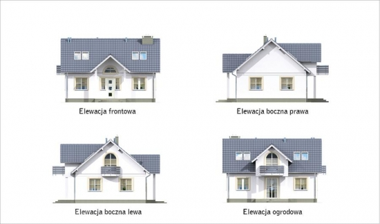 Elevatii casa cu mansarda si suprafata 108 mp