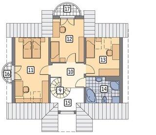 Plan mansarda 43 mp cu 3 dormitoare