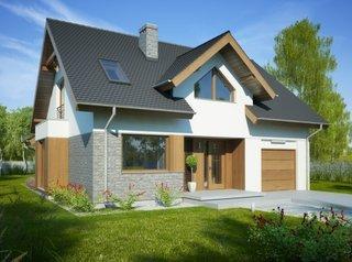 Casa cu intrare acoperita cu acoperis in 2 ape