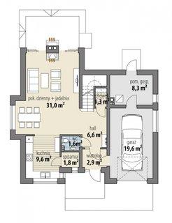 Parter casa cu living open space cu dining si bucatarie