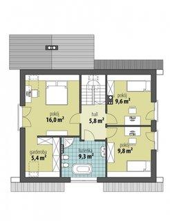 Plan mansarda cu 3 dormitoare si 1 baie