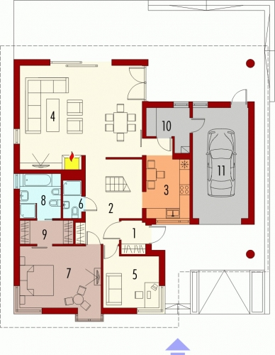 Proiect de casa cu dormitor la parter