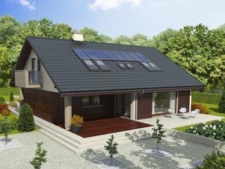 Proiect de casa cu mansarda si teresa acoperita placata cu lemn
