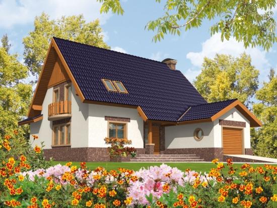 Proiect casa cu mansarda si terasa acoperita lipita