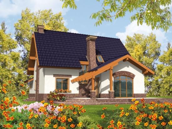 Proiect casa cu pergola din lemn lipita de casa