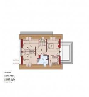 Plan etaj mansardat cu 3 dormitoare