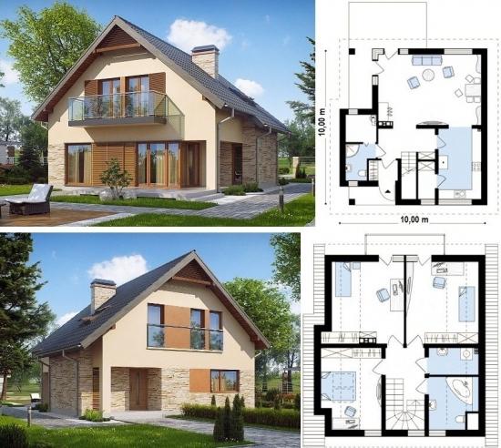 Plan casa cu mansarda 10x10