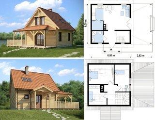 Plan casa cu mansarda 6x6