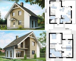 Plan casa cu mansarda 9x9
