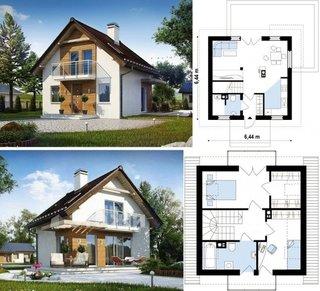 Plan casa patrata cu mansarda