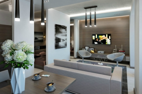 Living si dining cu mobilier gri
