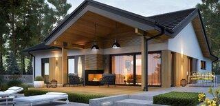 Casa superba doar cu parter cu fatada cu lemn