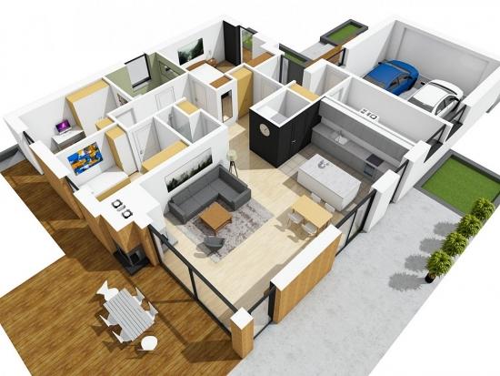 Plan compartimentare 3D casa cu parter