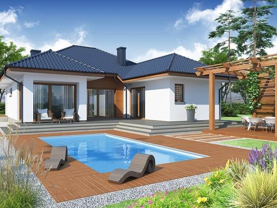 Terasa in spatele casei cu piscina ingropata