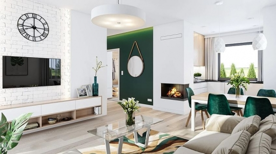 Living alb cu pata de culoare verde