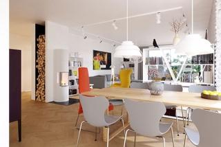 Living open space modern cu loc de servit masa