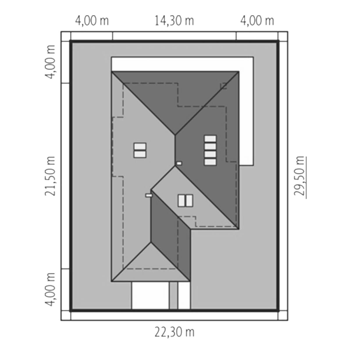 Plan casa cu latime de 14 metri