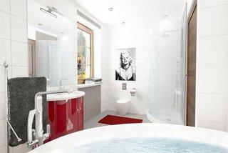 Varianta amenajare baie cu mobilier rosu lucios