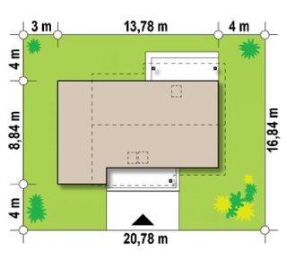 Forma casa P+M cu terasa deasupra garajului