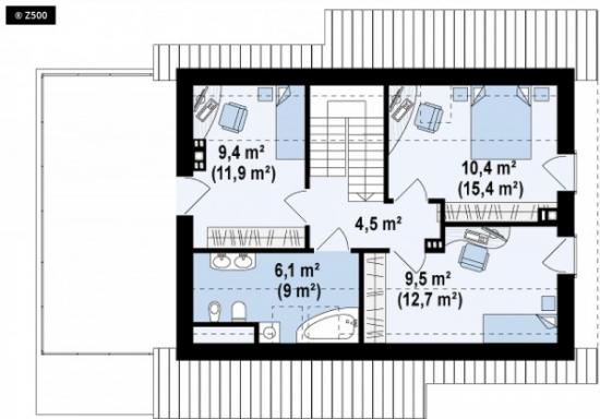 Plan mansarda casa cu terasa deasupra garajului
