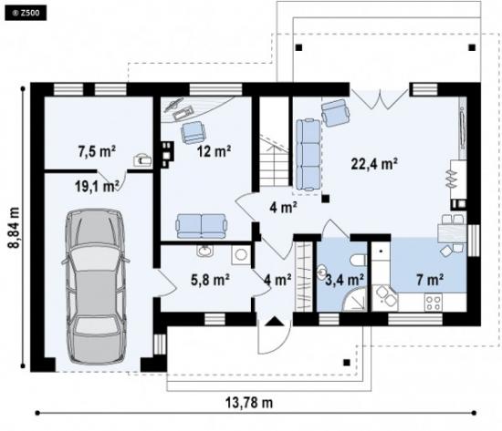 Plan parter casa cu terasa deasupra garajului