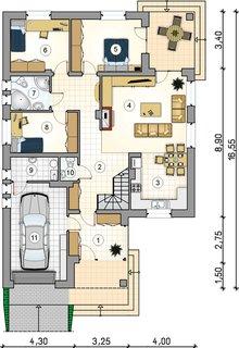 Plan casa cu 3 dormitoare la parter