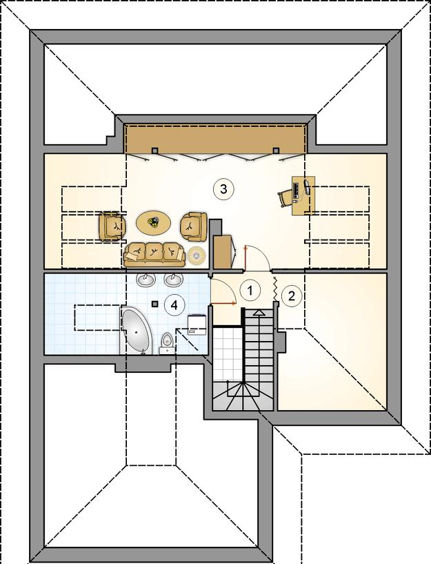 Plan etaj cu camera de relaxare