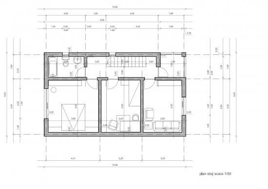 Plan etaj cotat casa la gata de 120 de mp