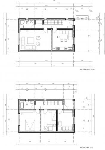 Planuri fara cote pentru parter si etaj casa la gata de 37000 euro