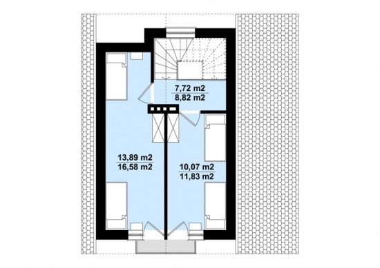 Plan etaj casa de vacanta mica