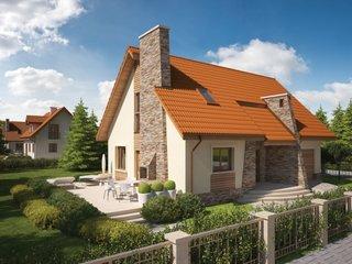 Casa cu semineu exterior placat cu piatra
