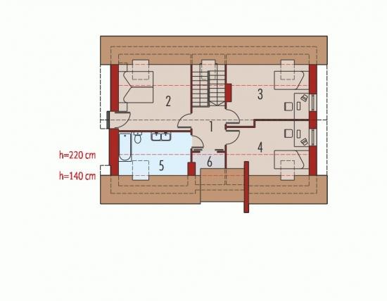Plan etaj casa cu mansarda si garaj