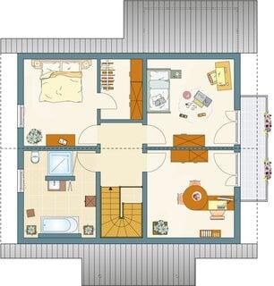 Plan etaj casa moderna cu mansarda si doua dormitoare