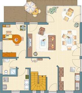Plan parter casa moderna cu mansarda