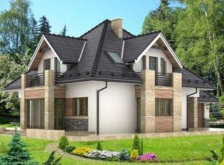 Casa cu etaj cu forma patrata