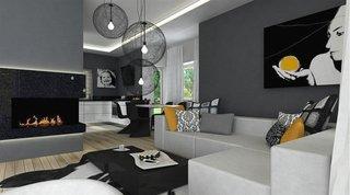 Living modern amenajat in alb si negru