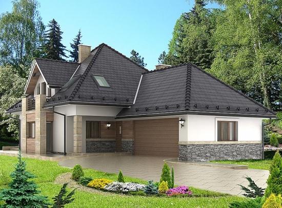 Model de fatada casa placata cu piatra si travertin