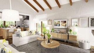 Amenajare living cu mobila din lemn natur