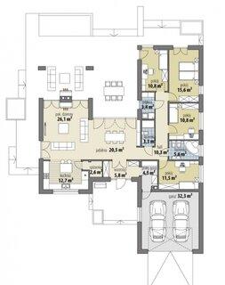 Plan casa cu parter si 4 dormitoare