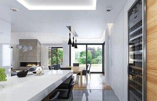 Bucatarie cu dining si living amenajare minimalista