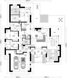 Plan parter casa cu 4 dormitoare 254 mp