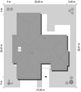 Proiectare pe teren casa in forma de T